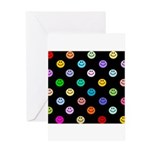 Rainbow Smiley Pattern Greeting Card