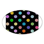 Rainbow Smiley Pattern Sticker (Oval 50 pk)