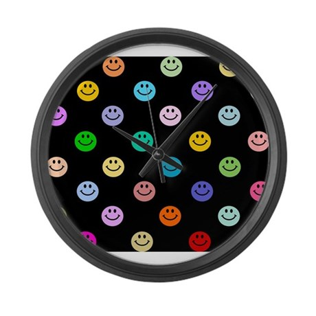 Rainbow Smiley Pattern Large Wall Clock