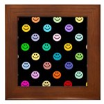 Rainbow Smiley Pattern Framed Tile