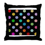 Rainbow Smiley Pattern Throw Pillow
