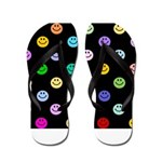 Rainbow Smiley Pattern Flip Flops