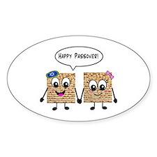Happy Passover Matzot Sticker (Oval)