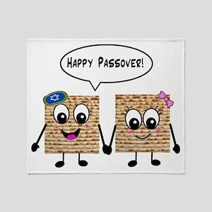 Happy Passover Matzot Throw Blanket