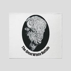 Great White Buffalo Throw Blanket