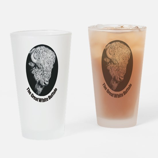 Great White Buffalo Drinking Glass