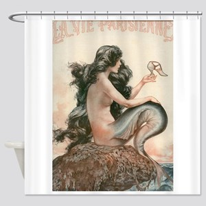 Vintage Mermaid Paris Shower Curtain