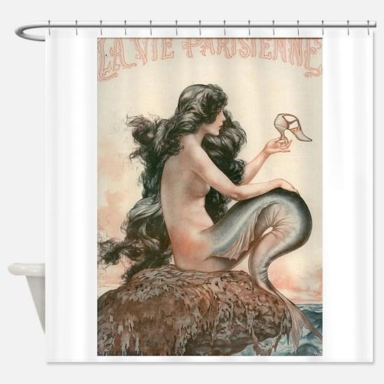 Vintage Mermaid Paris Shower Curtain
