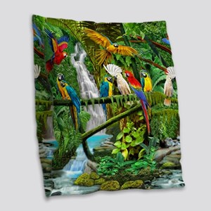 Parrots in Paradise Burlap Throw Pillow