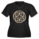 Celtic Knotwork Coin Women's Plus Size V-Neck Dark