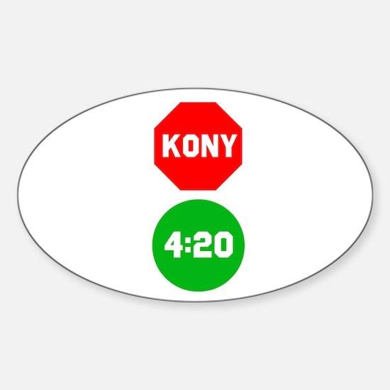 Stop Sign Kony Go 420 Sticker (Oval)
