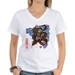 Snake and cherry Women's V-Neck T-Shirt