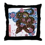Snake and cherry Throw Pillow