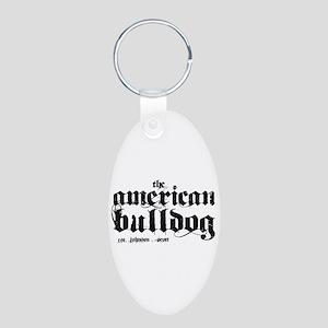 American Bulldog Aluminum Oval Keychain