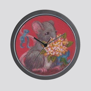Mouse With Flowers Wall Clock