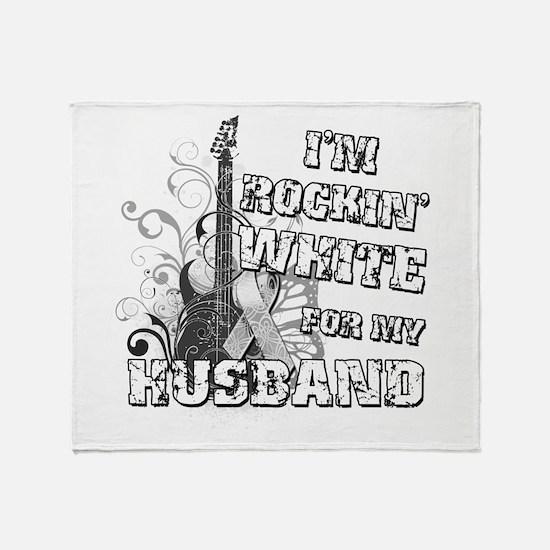 I'm Rockin' White for my Husb Throw Blanket