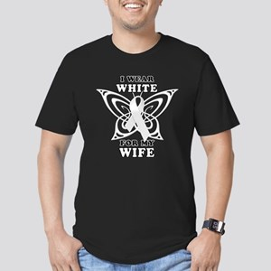 I Wear White for my Wife Men's Fitted T-Shirt (dar