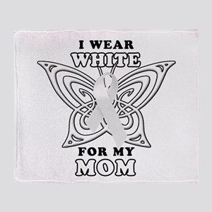 I Wear White for my Mom Throw Blanket
