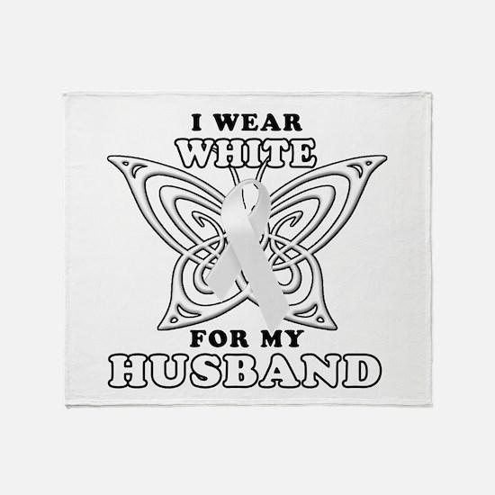 I Wear White for my Husband Throw Blanket