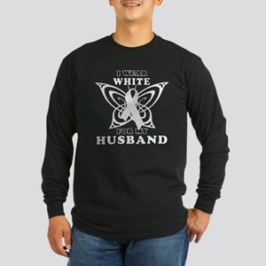 I Wear White for my Husband Long Sleeve Dark T-Shi