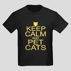 Keep Calm and Pet Cats Kids Dark T-Shirt