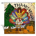 Happy Thanks-Vegan Shower Curtain