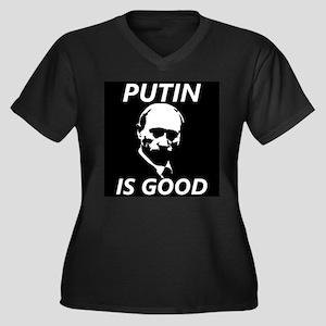 Putin Women's Plus Size V-Neck Dark T-Shirt