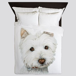 Cute Westie Dog Queen Duvet