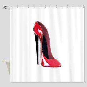 Red Stiletto Shoe Shower Curtain