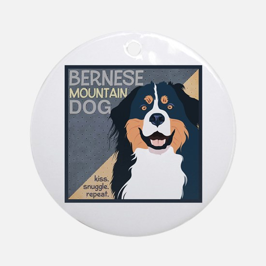 Bernese-Kiss.Snuggle.Repeat. Ornament (Round)
