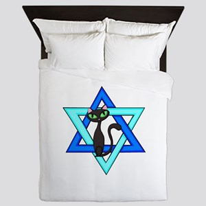 Jewish Cat Stars Queen Duvet