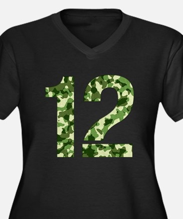 Number 12, Camo Women's Plus Size V-Neck Dark T-Sh