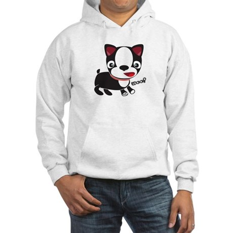 "Boston Terrier Puppy says ""Wo Hooded Sweatshirt"