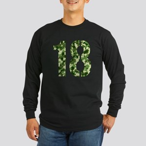 Number 18, Camo Long Sleeve Dark T-Shirt