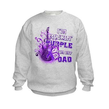 I'm Rockin' Purple for my Dad Kids Sweatshirt