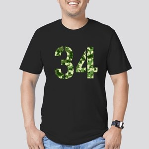 Number 34, Camo Men's Fitted T-Shirt (dark)
