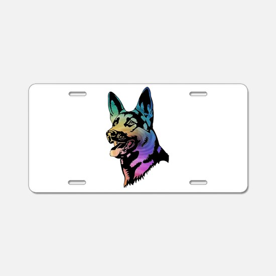 Rainbow Swirl German Shepherd Aluminum License Pla