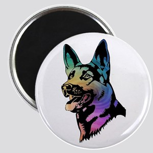 Rainbow Swirl German Shepherd Magnets