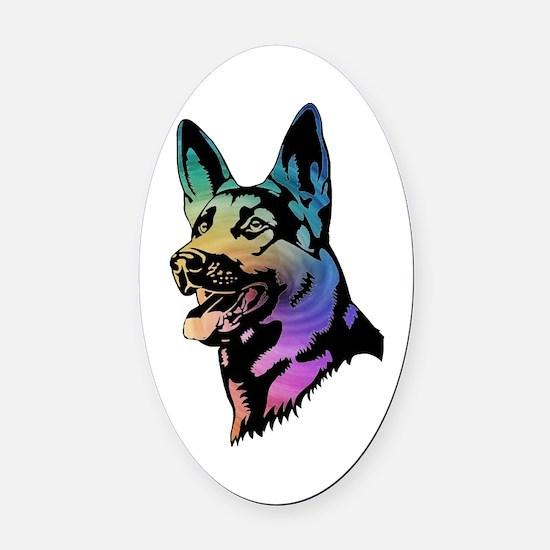 Rainbow Swirl German Shepherd Oval Car Magnet