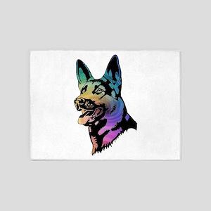 Rainbow Swirl German Shepherd 5'x7'Area Rug