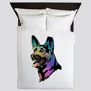 Rainbow Swirl German Shepherd Queen Duvet