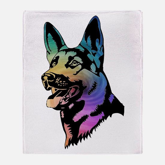 Rainbow Swirl German Shepherd Throw Blanket