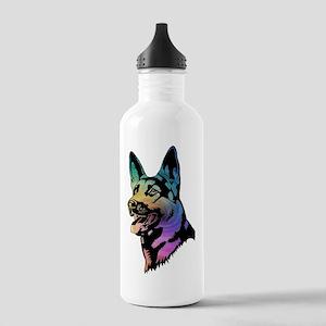 Rainbow Swirl German Shepherd Water Bottle