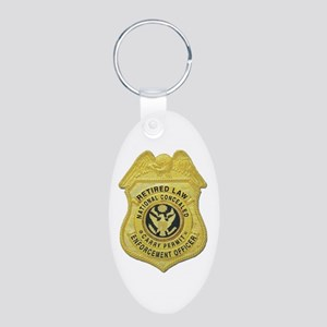 Retired Law Enforcement Aluminum Oval Keychain