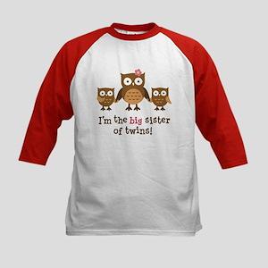 Big Sister of Twins - Mod Owl Kids Baseball Jersey
