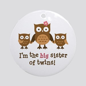 Big Sister of Twins - Mod Owl Ornament (Round)