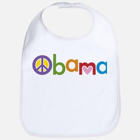 Peace, Love, Obama Bib