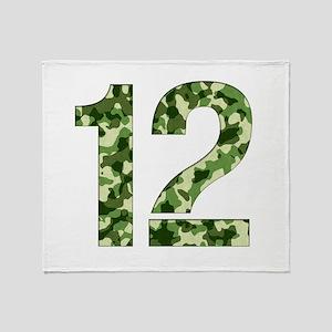 Number 12, Camo Throw Blanket