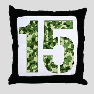 Number 15, Camo Throw Pillow