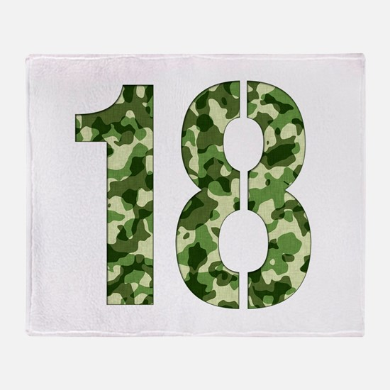 Number 18, Camo Throw Blanket
